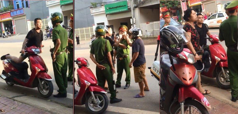Bị bắt vì đi xe máy không đội MBH, thanh niên xăm trổ gọi cả nhà đến chửi bới, lăng mạ công an 1