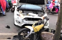 Tài xế đạp nhầm chân ga, ô tô tông chiến sĩ cảnh sát trọng thương