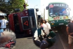 Container lật ngửa giữa đường, đè chết người đi xe máy ở Đồng Nai