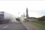 Clip: Người đi xe đạp thoát chết thần kỳ sau va chạm kinh hoàng