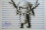 Cậu bé 15 tuổi vẽ tranh 3D trên trang vở