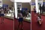 Clip: Thiếu nữ mặc váy ngắn, đi giày cao gót tâng bóng điệu nghệ