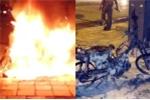 Clip: Quái xế bị bắt chửi CSGT, châm lửa tự đốt xe