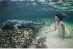 Người mẫu liều lĩnh lặn xuống nước chụp hình cùng cá sấu