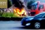 Clip: Đạp nhầm chân ga, ôtô đâm sầm vào tường bốc cháy