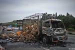 2.000 con vịt bị 'quay' sớm vì xe tải bốc cháy trên đường cao tốc