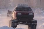 Clip: Dân tự chế ôtô thành xe tăng để vượt tuyết