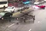 Video: Lần đầu lái siêu xe nữ tài xế đâm bay dải phân cách, gây tai nạn hàng loạt