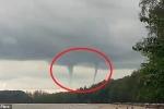 Clip: Vòi rồng kép cực hiếm càn quét bầu trời Thái Lan