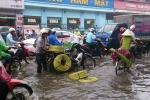 Hà Nội mưa giông như trút, cây đổ, đường ngập như sông, xe chết máy la liệt