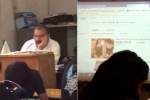 Video: Quên tắt máy chiếu, thầy giáo bị bắt quả tang xem quảng cáo nội y trong tiết dạy