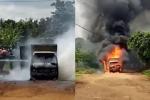 Video: Xe tải chở gas bốc cháy ngùn ngụt ở Đắk Lắk