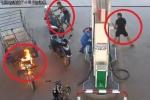 Clip: Xe ba gác cháy sát trụ xăng, nam khách hàng chạy loạn, nữ nhân viên bình tĩnh, nhanh trí