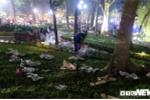 Hồ Hoàn Kiếm ngập rác thải, nhân viên vệ sinh môi trường còng lưng làm không hết việc đêm Giao thừa