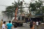 Nam công nhân bốc cháy trên cột điện ở Hà Nam