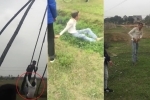 Clip: Chơi đánh đu đầu năm, nam thanh niên bị văng xuống vũng lầy