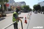 Ảnh: Rào chắn đường Trần Hưng Đạo để xây nhà ga ngầm tuyến Metro Nhổn - Ga Hà Nội