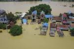 Vùng rốn lũ Hà Nội ngập trong biển nước nhìn từ flycam