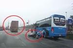 Container đâm ngã xe máy rồi bỏ chạy, bị dân truy đuổi như phim ở Hải Dương