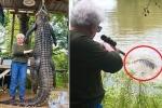 Clip: Cụ bà bắn chết cá sấu khổng lồ
