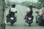 Clip: Đoàn rước dâu dàn hàng, chặn đầu hàng loạt ô tô trên quốc lộ 1A