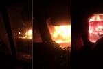 Clip: Xe khách giường nằm cháy ngùn ngụt trên quốc lộ 1A