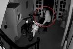 Clip: Đạo chích cạy 2 lớp cửa, dắt trộm xe máy biển số 'tứ quý'