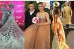 Lâm Khánh Chi chơi lớn, diện 5 bộ váy tà dài quét đất trong đám cưới
