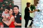 Tăng Thanh Hà hạnh phúc bên con trai, Đàm Vĩnh Hưng tự tay trang trí cây thông Noel