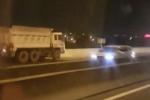 Xe ben bật đèn khẩn cấp, lao vun vút ngược chiều trên cao tốc TP.HCM – Long Thành – Dầu Giây