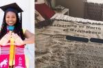 Cô gái Mỹ hạnh phúc được mẹ tặng tấm chăn in hình bằng tốt nghiệp