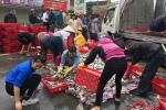 Xe tải chở cá lật giữa quốc lộ, dân kéo nhau thu gom giúp tài xế