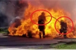 Clip: Bình xăng ô tô nổ tung, lửa bùng lên nuốt chửng lính cứu hỏa