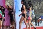 Thí sinh cuộc thi nhan sắc Trung Quốc trình diễn bikini nơi băng tuyết