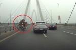 Clip: Xe máy chở cây cảnh chạy ngược chiều kiểu 'cảm tử' trên cầu Nhật Tân