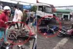 Clip: Hiện trường container tông nát hàng chục xe máy dừng đèn đỏ ở Long An