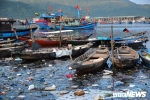 Ảnh: Rác thải nổi lềnh bềnh, bốc mùi hôi thối nồng nặc ở âu thuyền lớn nhất miền Trung
