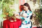 Hoa hậu Hoàng Dung rạng rỡ trong tà áo dài Tết