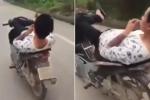 Clip: Khiếp đảm thanh niên nằm ngửa, lái xe máy bằng chân