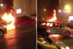 Clip: Ô tô cháy ngùn ngụt giữa đường, nhiều tài xế thản nhiên lại gần quay phim, chụp ảnh