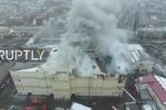 Clip: Trung tâm thương mại Nga chìm trong khói lửa nhìn từ trên cao