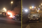 Ô tô 4 chỗ cháy trơ khung sắt trên cầu Thanh Trì