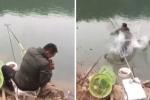 Clip: Bị cá lớn lôi mất cần câu, cần thủ cuống cuồng nhảy xuống sông đòi lại