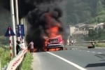 Clip: Container cháy ngùn ngụt trên quốc lộ, dân liều lĩnh đứng sát quay phim