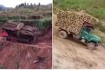 Clip: Xe tải chở nặng băng rừng vượt suối và những cái kết thảm khốc