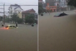 Clip: Ôtô ngụp lặn giữa biển nước sau trận mưa lớn ở Quảng Bình