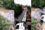 Clip: Kinh hoàng xe tải chở phân bón làm sập cầu ở Lâm Đồng