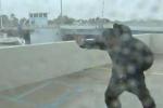 Phóng viên bị gió thổi bay về phía sau