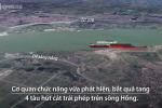 4 tàu hút cát trái phép trên sông Hồng bị bắt giữ