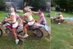 Clip: Người đẹp lần đầu lái mô tô cào cào và cái kết đắng